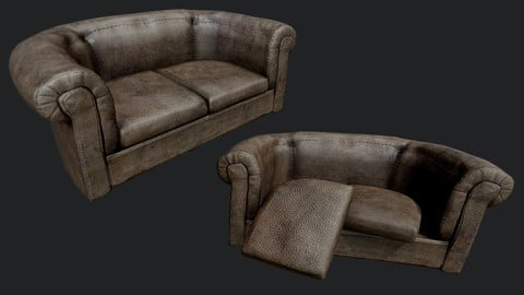 Old Leather Couch PBR