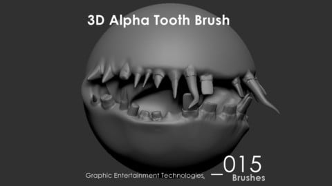 3D Alpha Tooth Brush set - for ZBrush