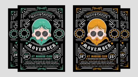 Highest Selling Movember Vector Party Flyer / Poster