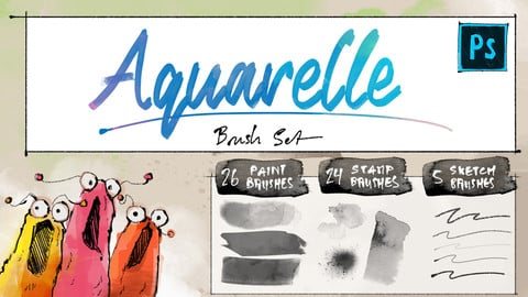 Aquarelle paint brushes + sketch brushes