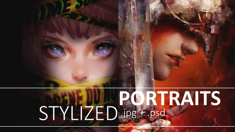 Stylized portrait: PSD + hirez files