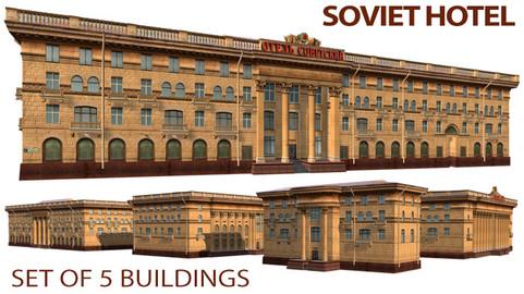 Soviet Hotel Set of 5 Buildings
