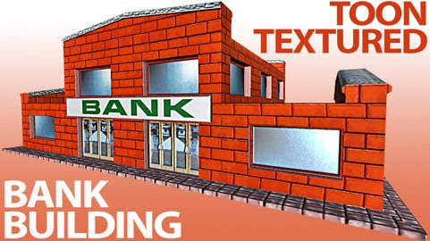 Toon Textured Small Bank Building
