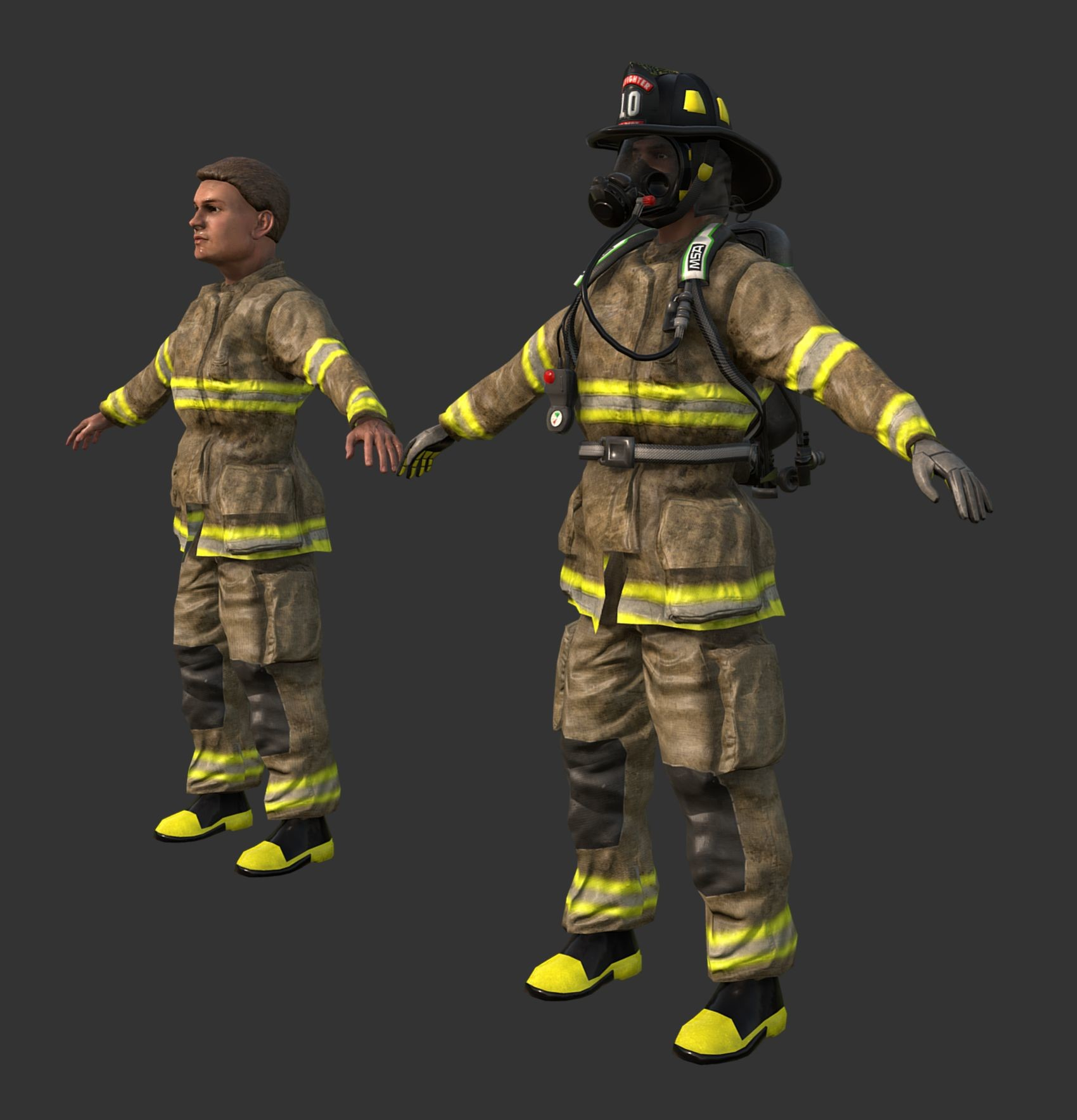 PBR Seamless Textures - Firefighter Character 3D Game Ready Model