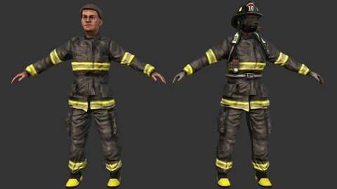 Firefighter with Gear Lowpoly Game Ready 3D Model