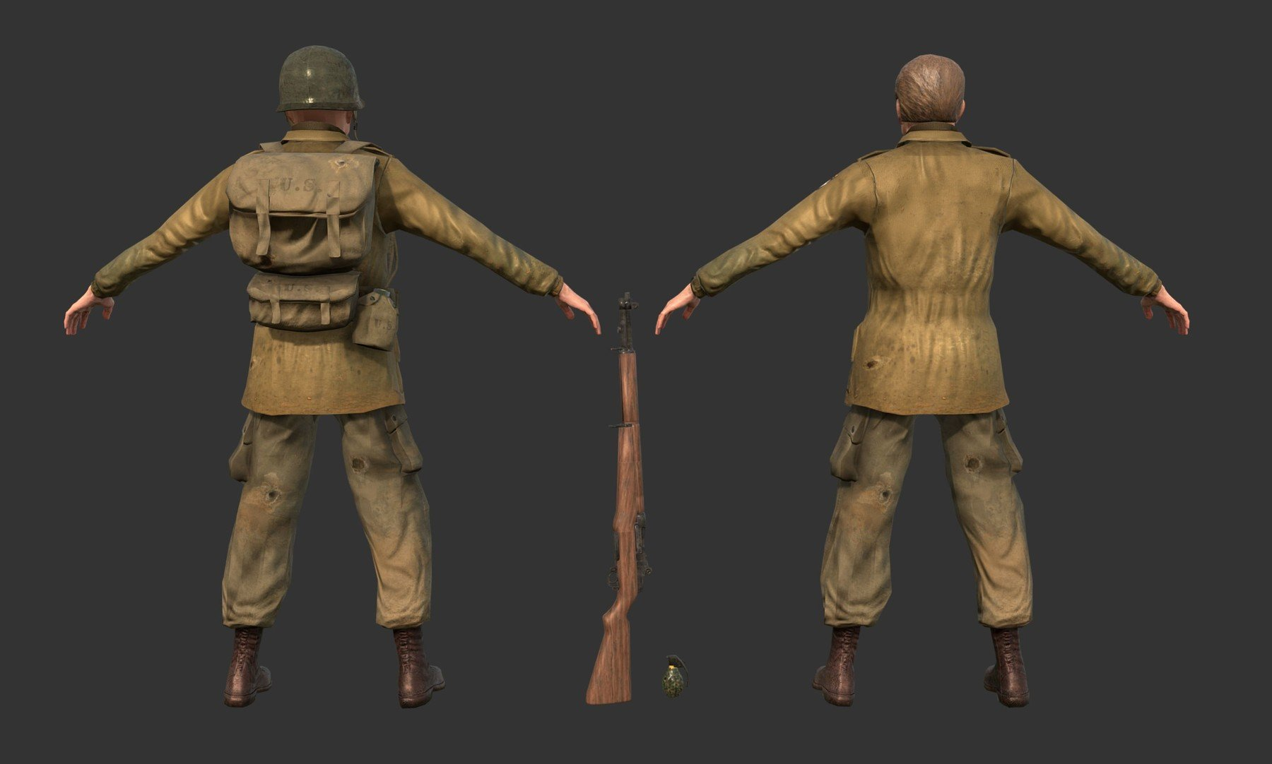 PBR Seamless Textures - WW2 World War 2 Soldier Game Ready 3D