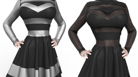 Marvelous Designer Garment: Bad Girl Dress (Dynamic 3D Clothing)