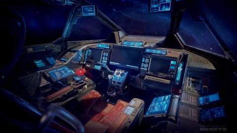 Sci Fi Cockpit Heavy Fighter Low-poly 3D model