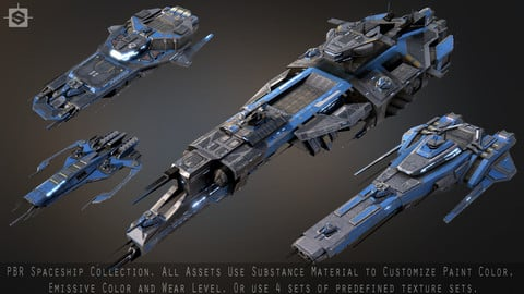 Spaceship Collection Low-poly 3D model