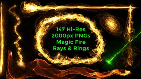 147 Hi Res Magic Energy Fire Rays & Rings PNGs
