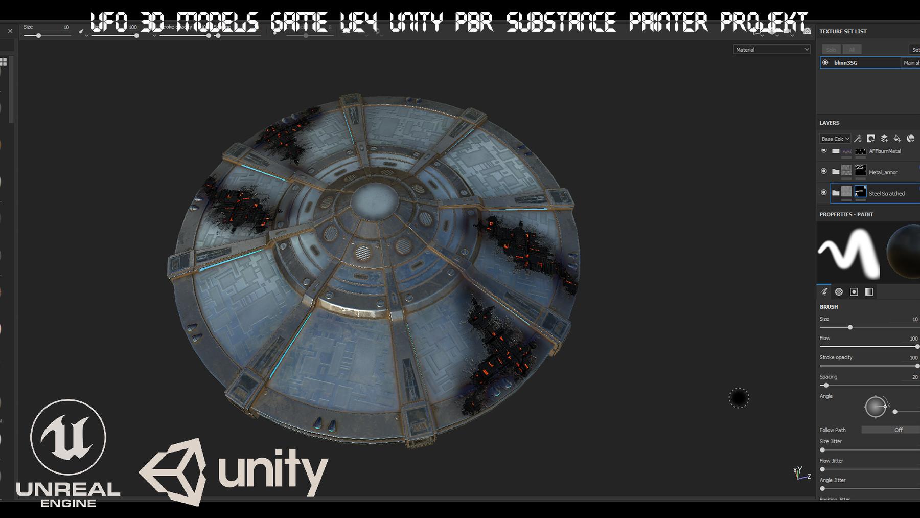 ArtStation - UFO 3d models Game UE4 Unity PBR Substance