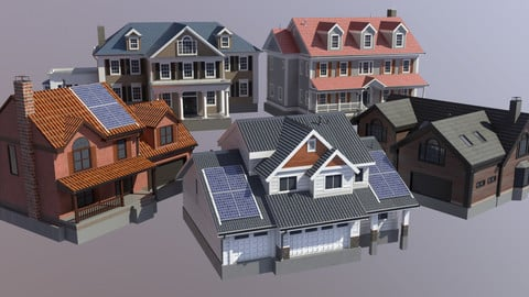 Modern Suburban House Collection Low-poly 3D model