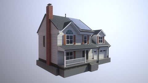 Modern Suburban House 2 Low-poly 3D model