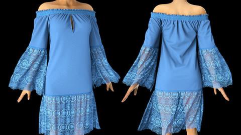 'BlueBell' Marvelous Designer Dress Garment File