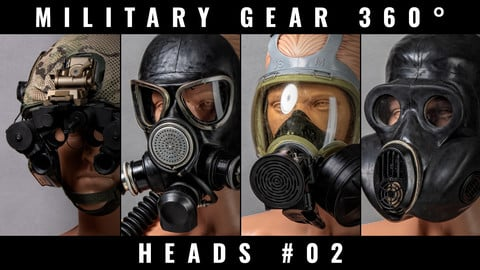 Military Gear 360° photo references - Soldier Heads #02