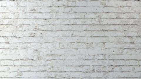 Aged brick walls of white brick