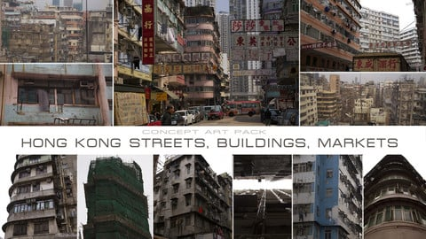 HONG KONG STREETS, BUILDINGS, MARKETS DAY
