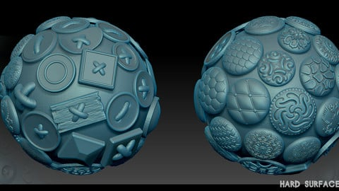 Hard Surface Zbrush Alphas buttons