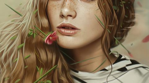 Portrait Illustration Process ( 105 layers + steps ) + 5 Full size Illustration files