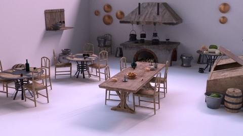 Medieval Kitchen Low Poly AR VR Asset Pack