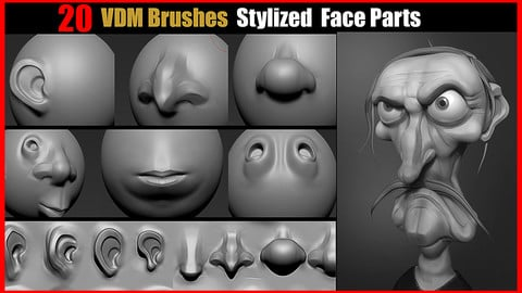 Zbrush VDM Brushes Stylized Face Parts