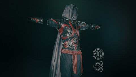 Male Assassin Outfit 1-3D Model