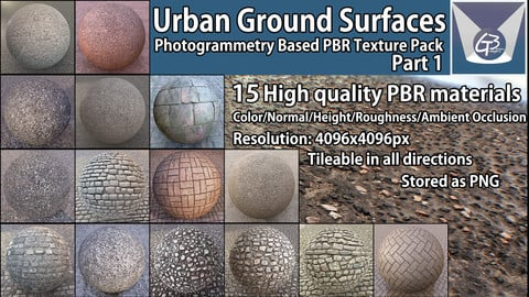 Urban Ground Surfaces 01 - Photogrammetry based PBR Environment Texture Pack