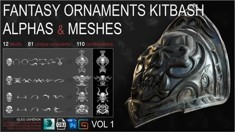 Fantasy Ornaments: Alphas & Meshes vol. 1