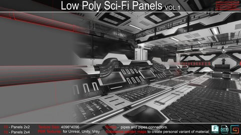 Sci-Fi Panels Low Poly vol 01