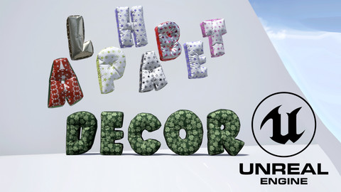 Alphabet Decor: balloons and pillows, Unreal Engine 4.14 and up.