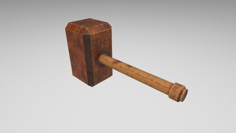 Low-poly Wood hammer