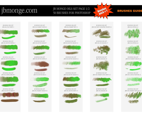 PACK 1 - 50 Oil DIGITAL PAINTING BRUSHES for Photoshop CC ( Product already  see on GUMROAD )
