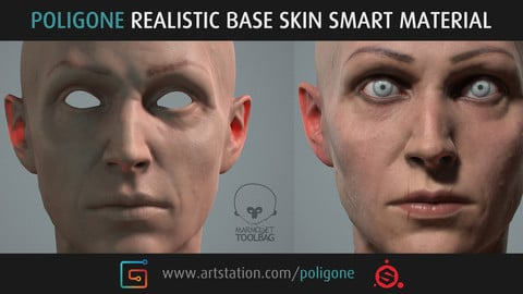 Poligone Realistic Base Skin Smart Material for Substance Painter