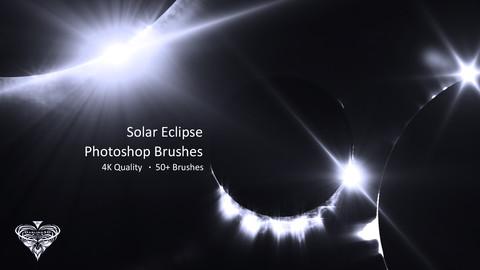4K Solar Eclipse Photoshop Brush Set: 50 Count