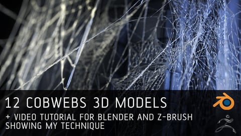 12 Cobwebs 3D models + tutorial (Blender+ Zbrush)