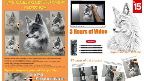HOW TO REALIZE A REALISTIC PORTRAIT OF FOX IN MONOCHROM