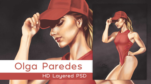 Fitness Girl Olga Paredes Layered PSD
