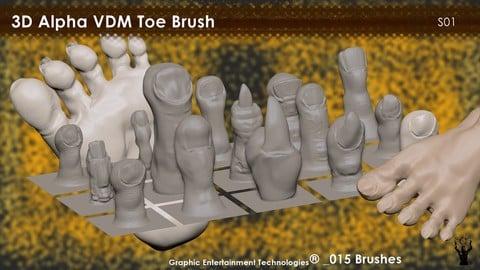 Toe Brush_15 3D alpha VDM brush for ZBrush
