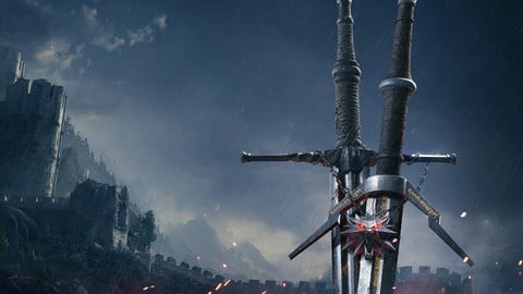 Witcher's long and silver sword with witcher's  Medallian