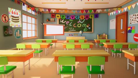 Asset - Class room - 3D model for Cartoons