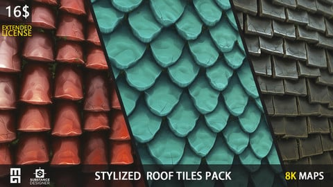 STYLIZED ROOF PACK (EXTENDED LICENSE) - substance designer