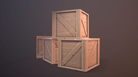 Lowpoly Wood Stylized Box