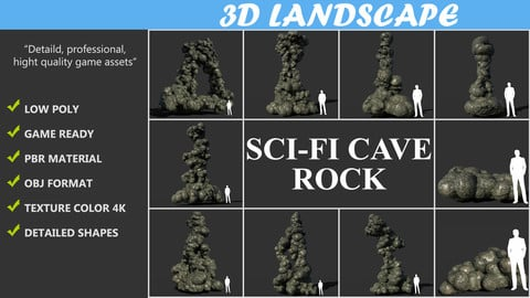 Low poly Scifi Cave Rock Pack