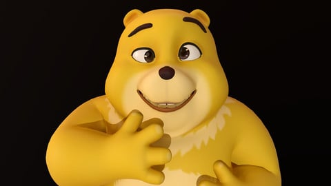 Asset - Cartoons - Character - Bear Yellow - Rig - High Poly 3D model