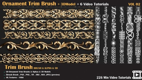 Ornament Trim Brush and 3D Models + 6 Video Tutorials-VOL 02