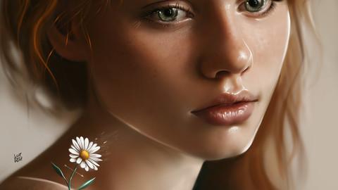 Realistic Portrait Painting ( 52 layers ) + 10 Bonus Illustration JPG Files  !