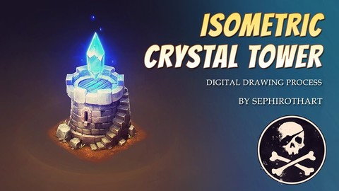 Isometric Crystal Tower | Full video process + PSD + Brushes