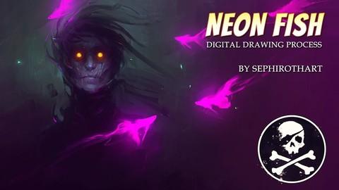 Neon Fish | Drawing Process Video + Materials