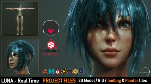 LUNA - Real Time/ 3D Model / 4K Texture & Files ( Marmoset Scene + Substance Painter File )