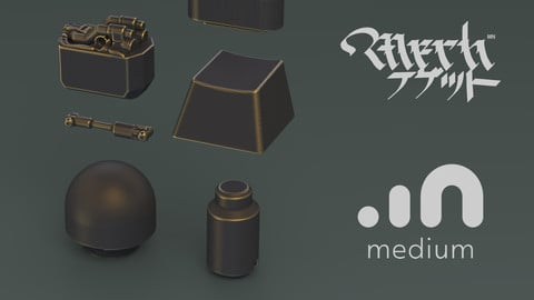 MechNuggets_Green || Oculus Medium Kitbash Stamps